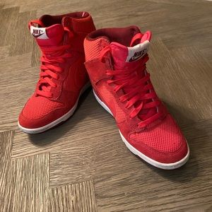 Nike hightop red sneakers size 7.5